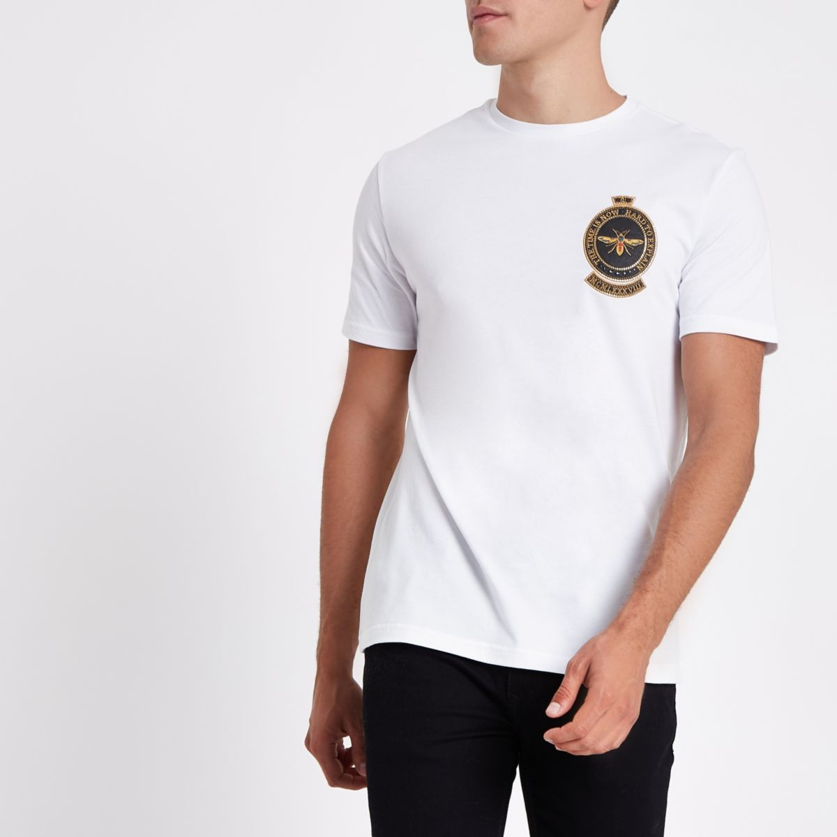White slim fit wasp embroidered short sleeve