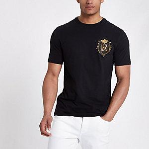 Zwart slim-fit T-shirt met badge