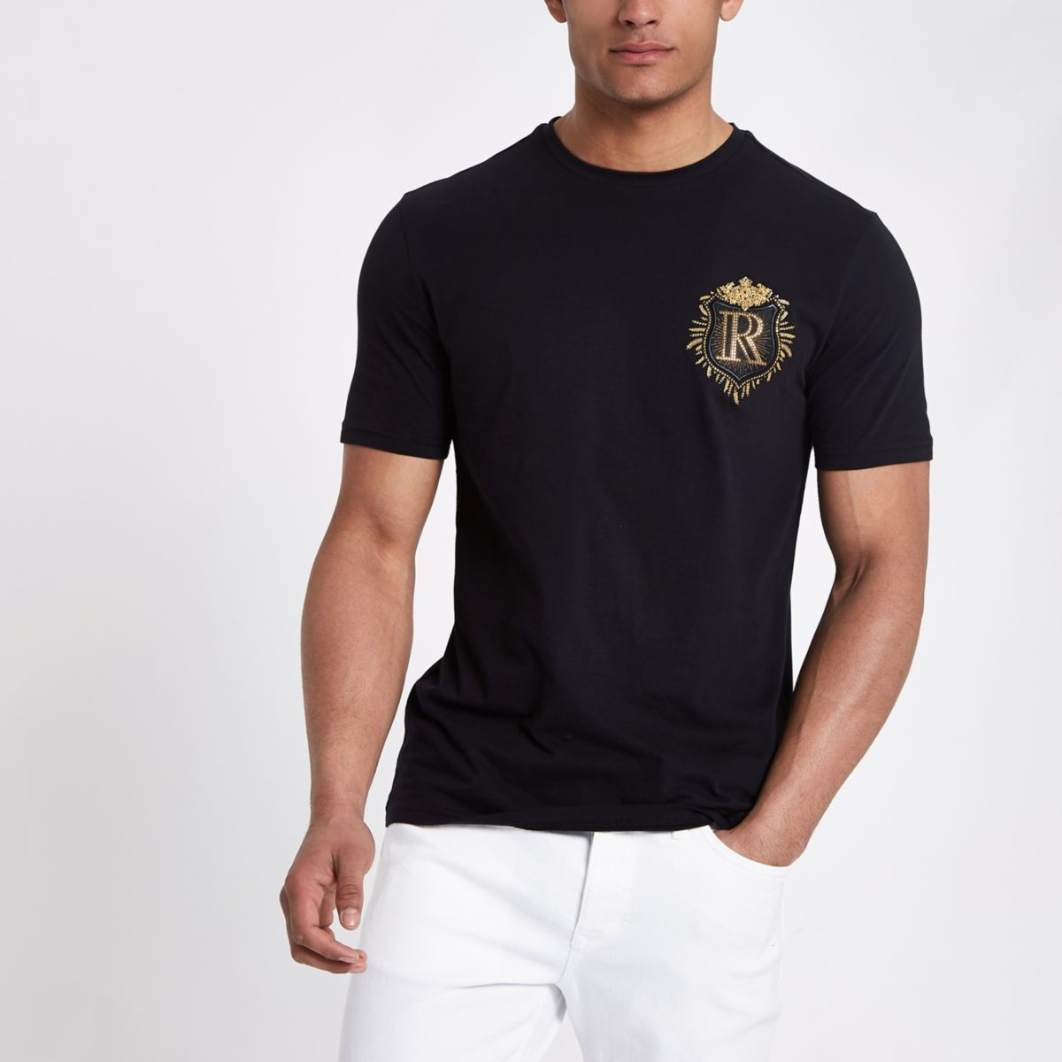 Black badge detail slim fit T-shirt