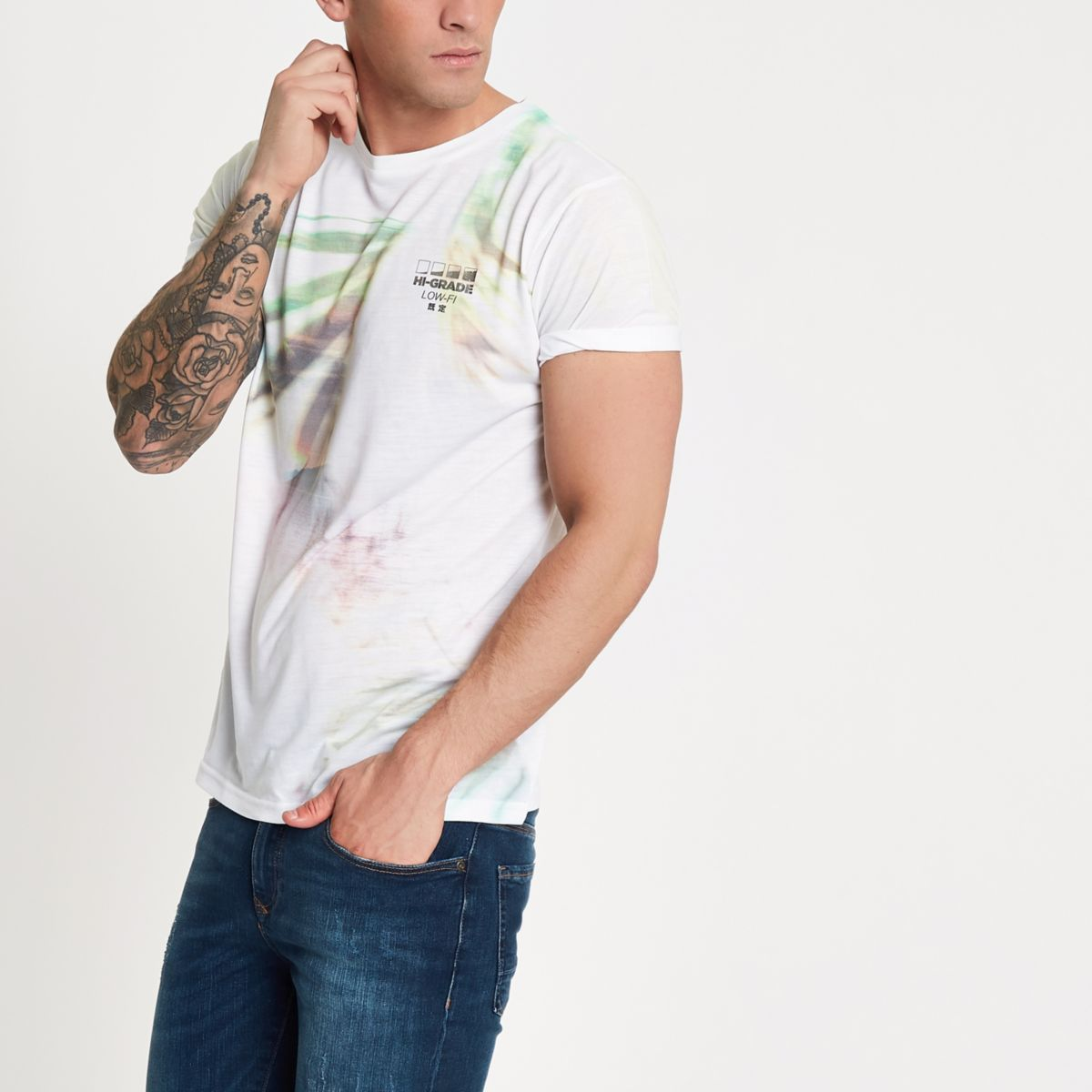 White palm graphic slim fit T-shirt