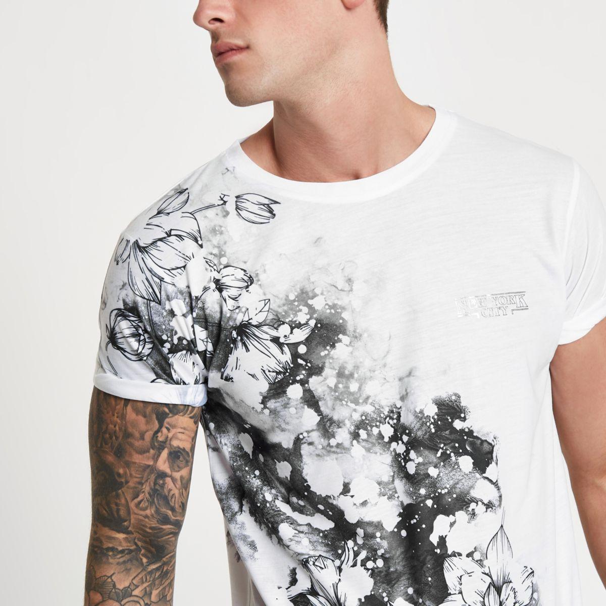 White floral splatter slim fit T-shirt
