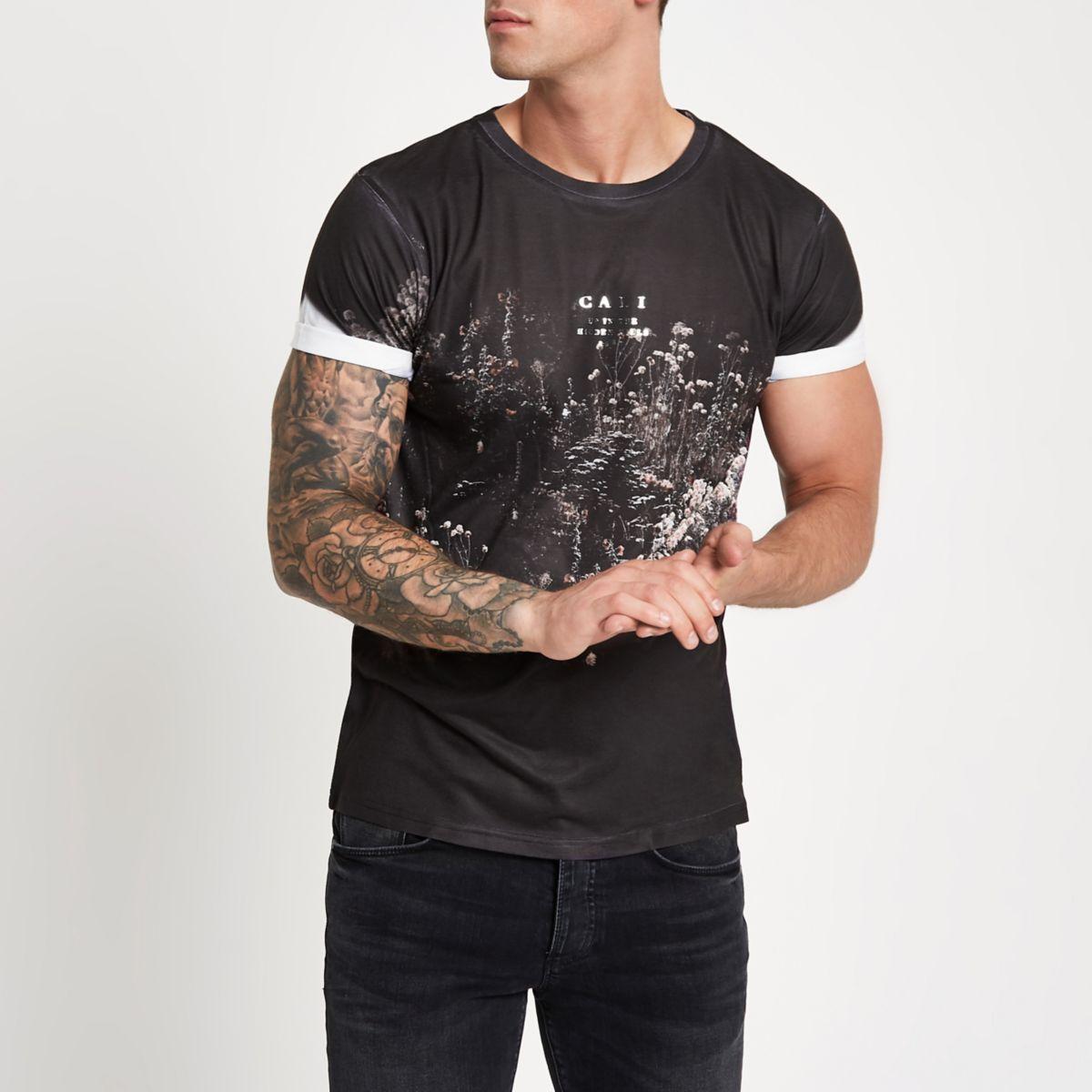 Black floral slim fit crew neck T-shirt