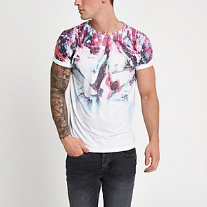 White graphic color print slim fit T-shirt