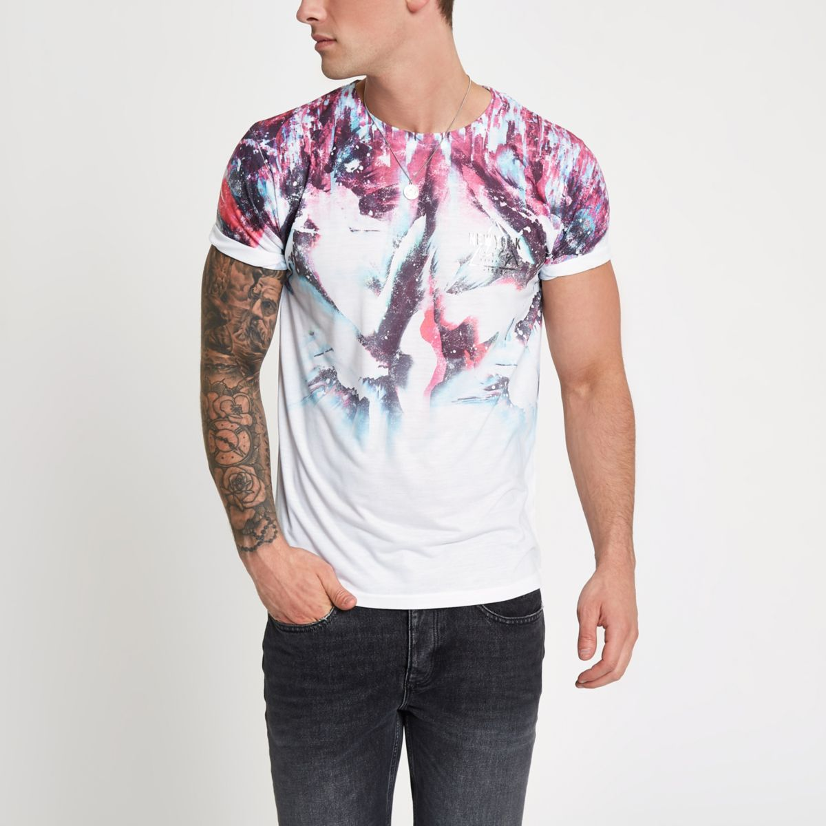 White graphic colour print slim fit T-shirt