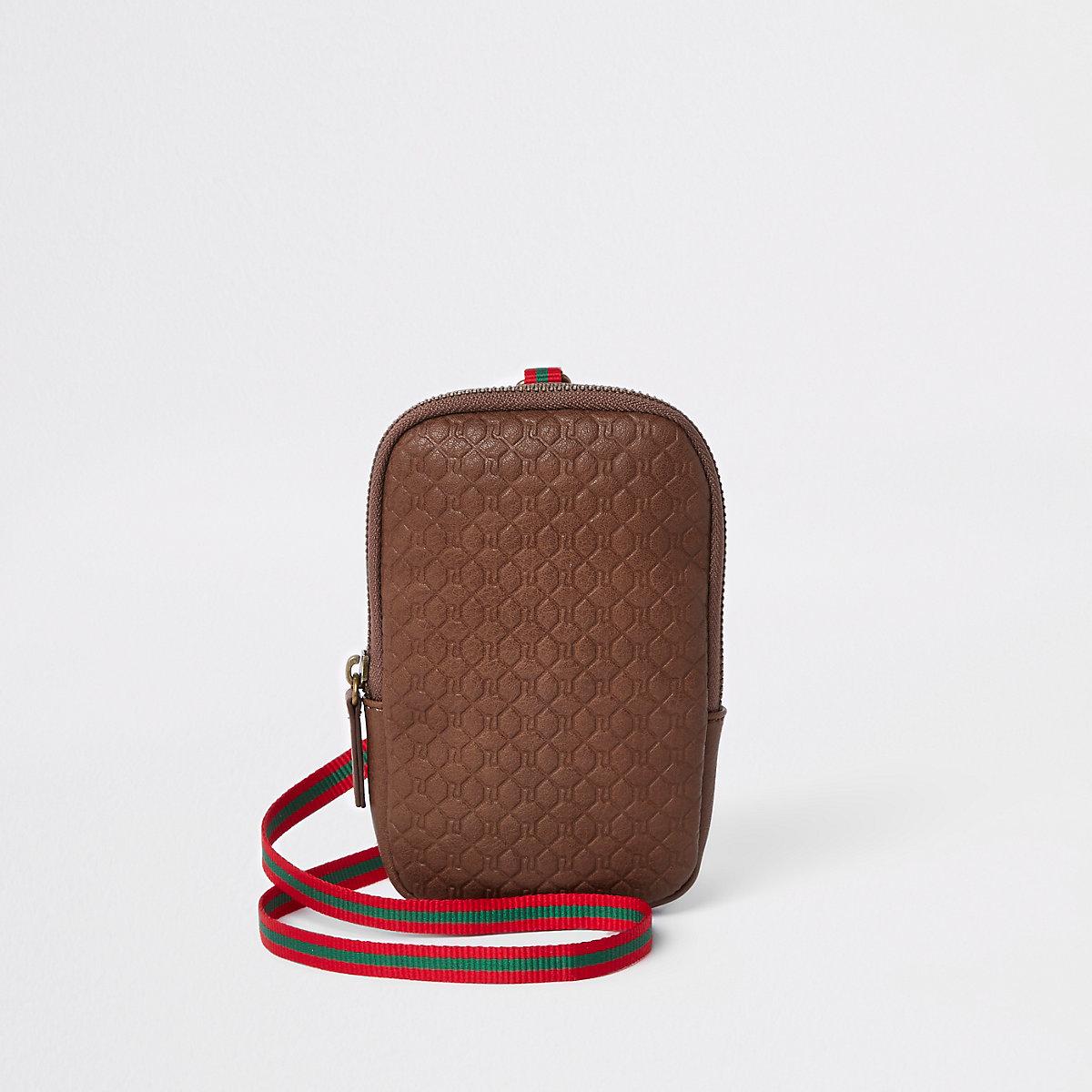 Brown RI monogram pouch