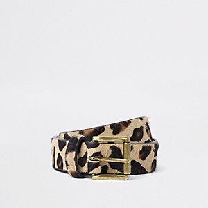 Bruine riem met luipaardprint