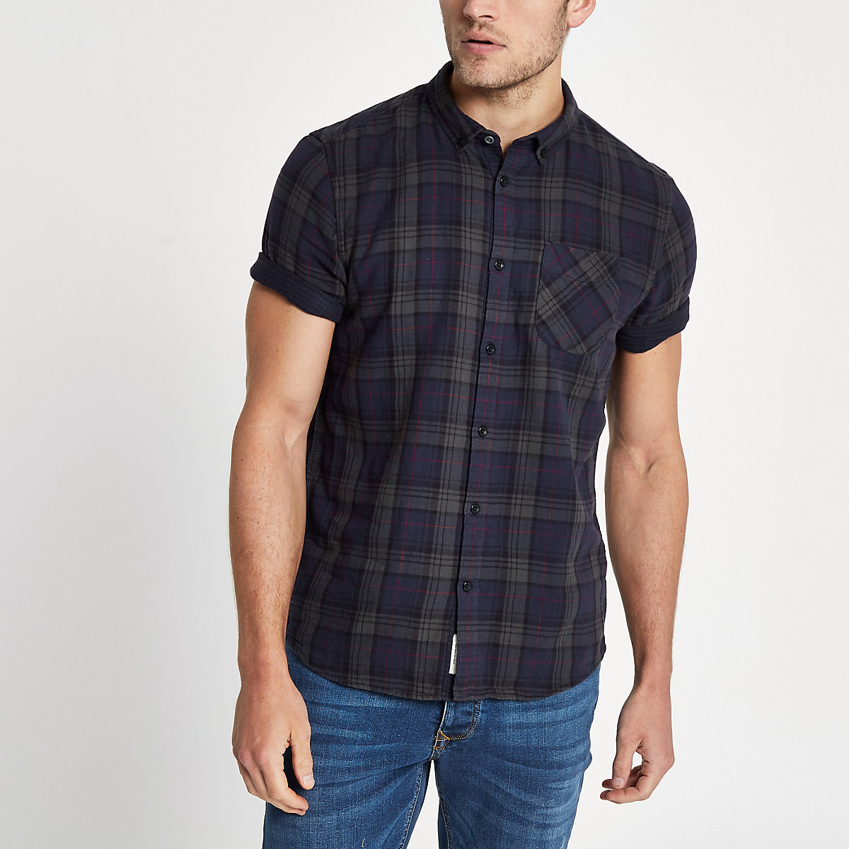 Navy check double face slim fit shirt