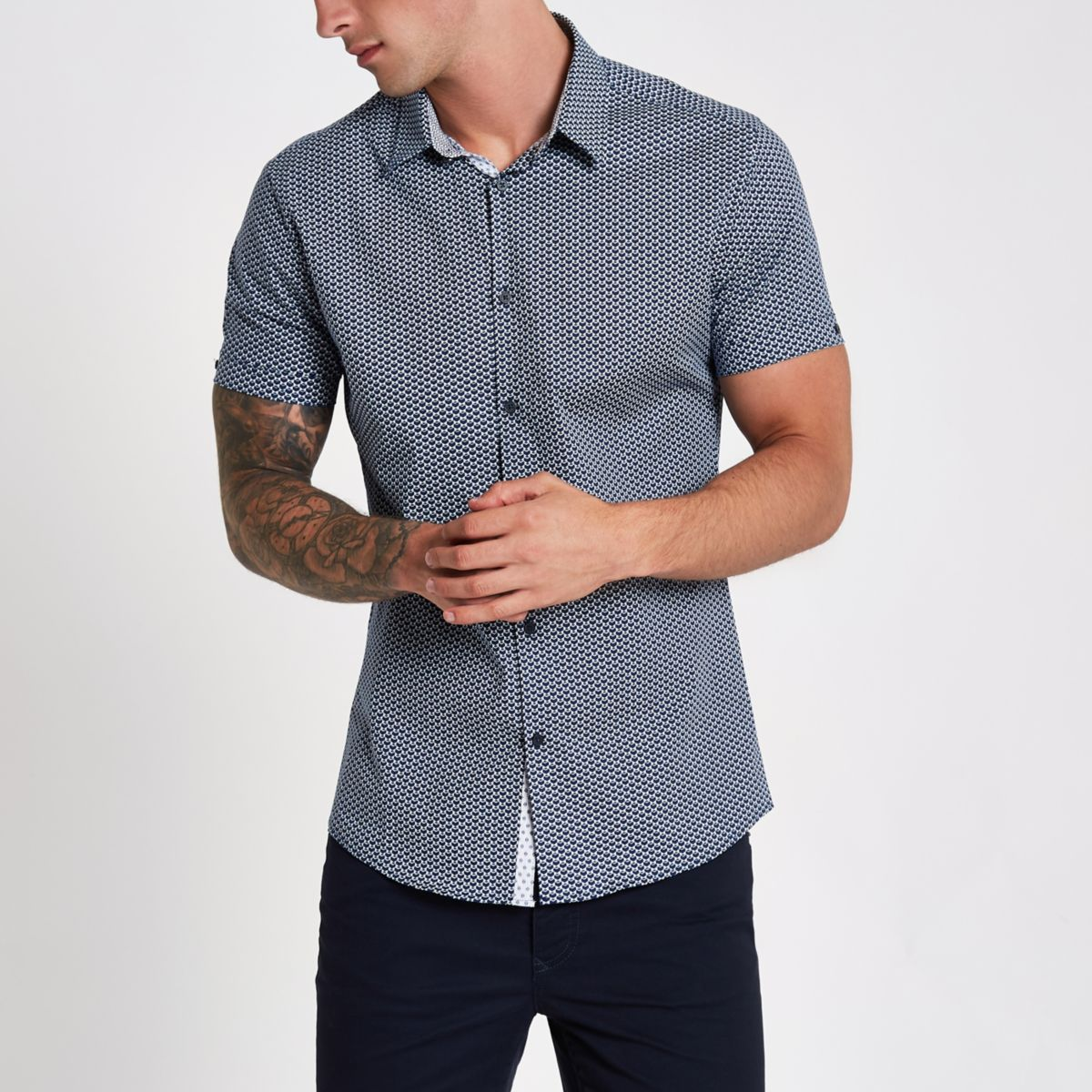 Navy tile print muscle fit shirt