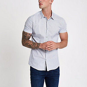 White tile print muscle fit shirt