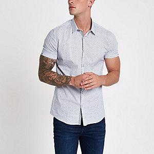 Weißes Muscle Fit Hemd mit Kachelmuster