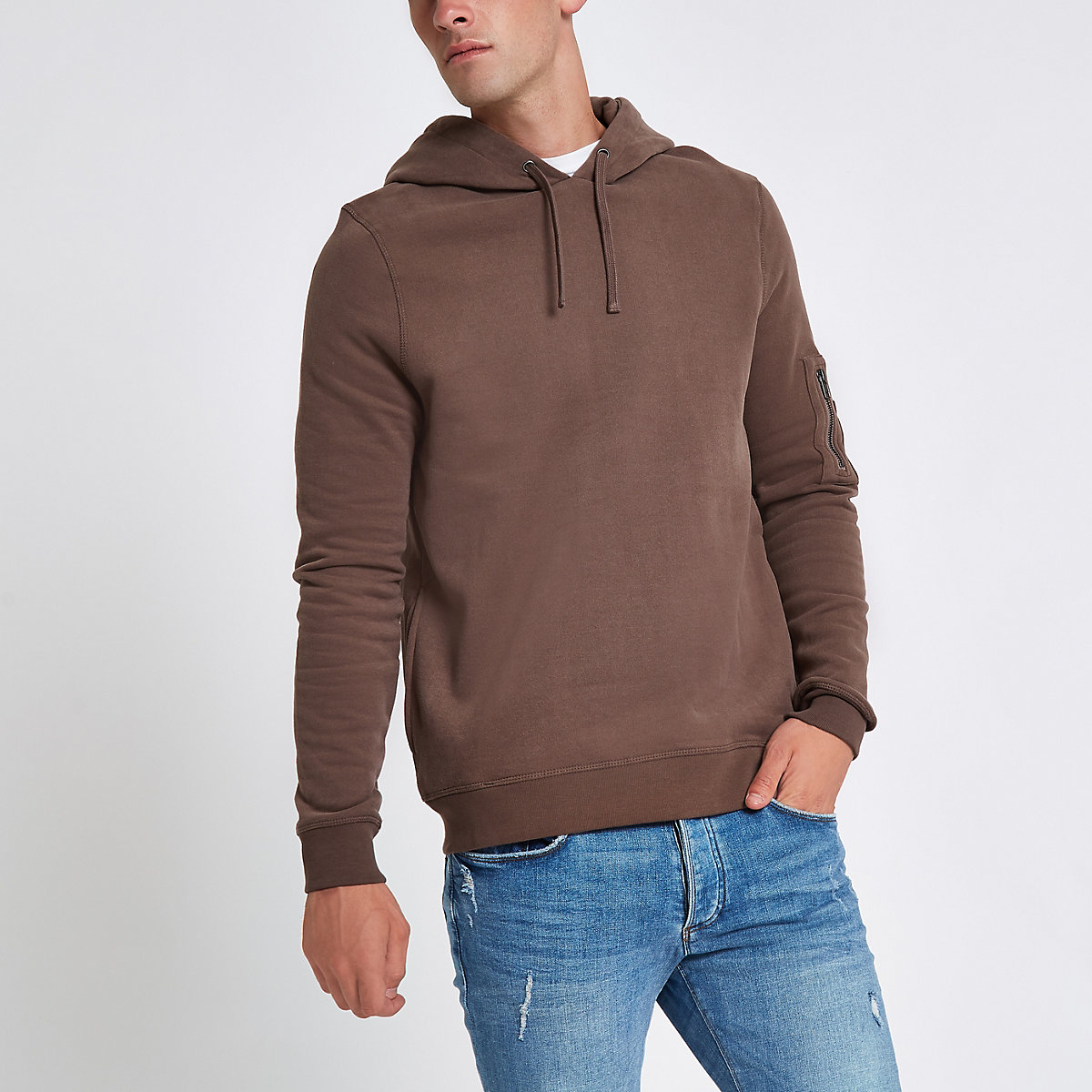Brown long sleeve zip hoodie