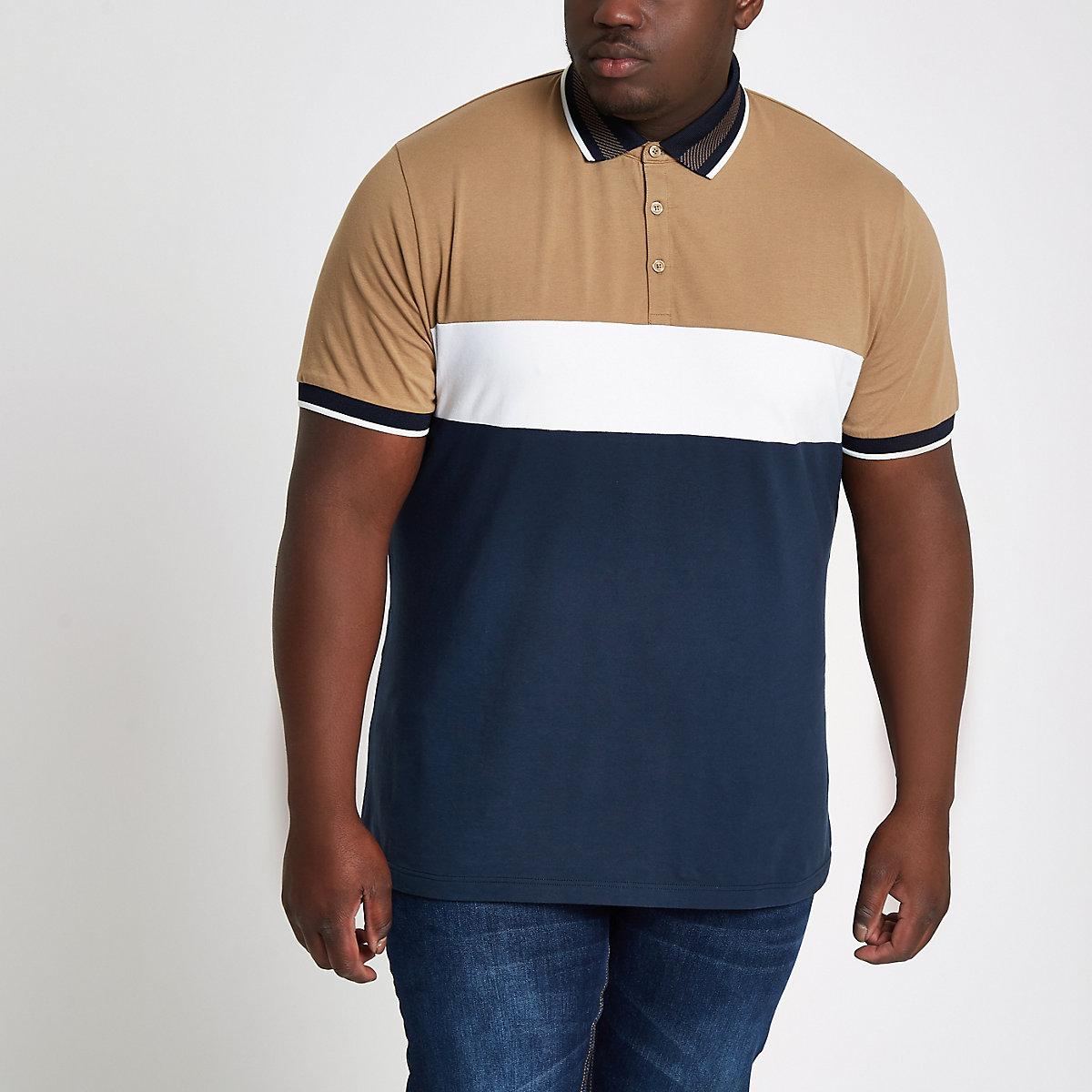 Big and Tall – Polo slim color block bleu marine