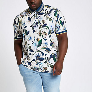 Big and Tall - Kiezelkleurig poloshirt met bloemenprint