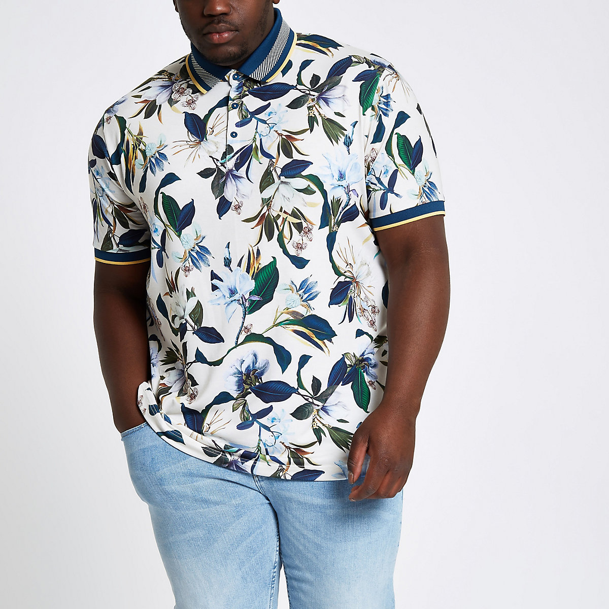 Big and Tall stone floral polo shirt