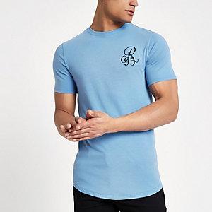 T-shirt ajusté R95 bleu à ourlet arrondi