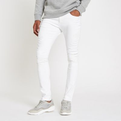 White Danny Super Skinny Ripped Jeans by River Island
