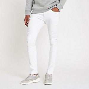 Danny – Weiße Super Skinny Jeans im Used-Look