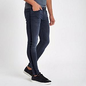 Donkerblauwe fluwelen spray-on skinny jeans met streep
