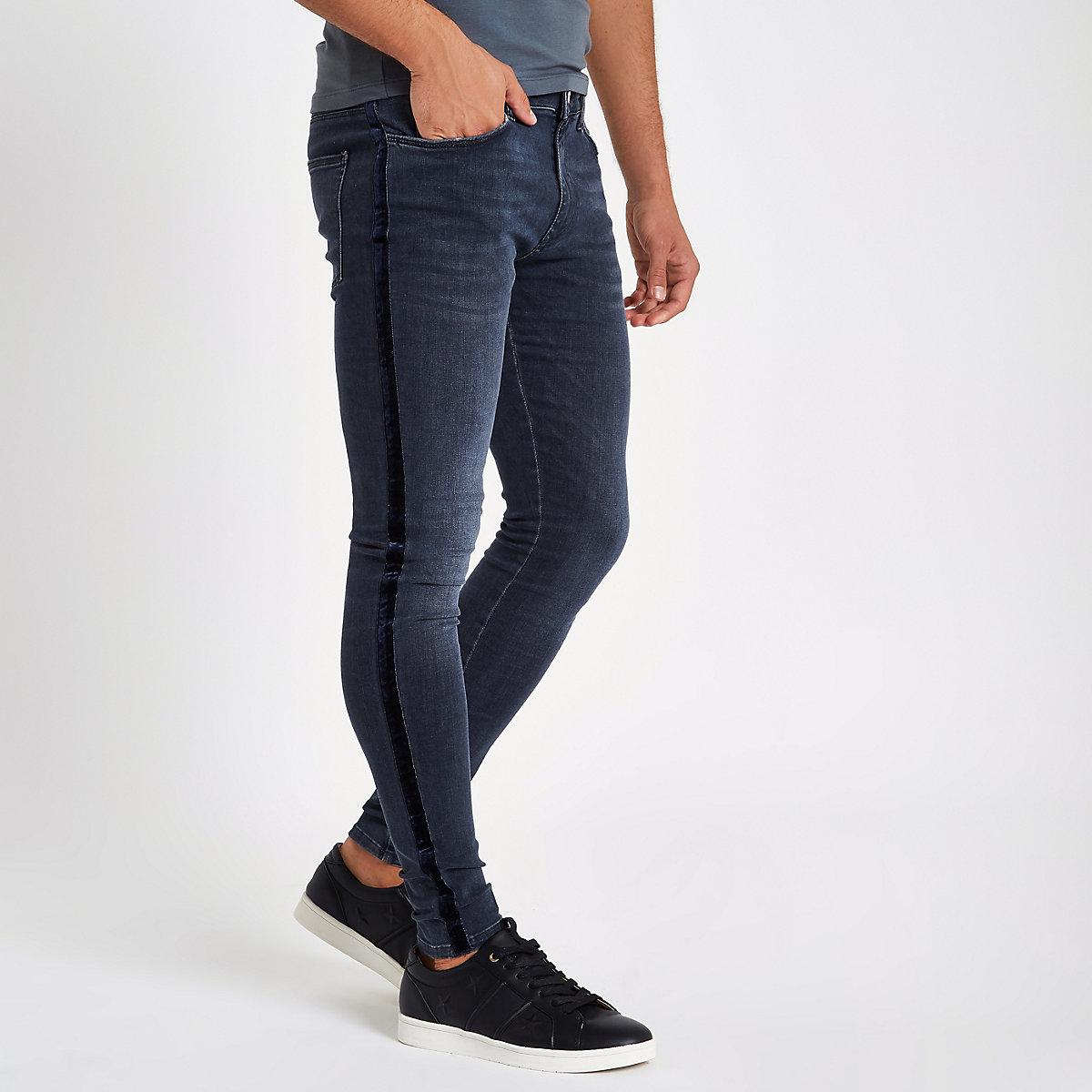 Dark blue velvet stripe spray on skinny jeans