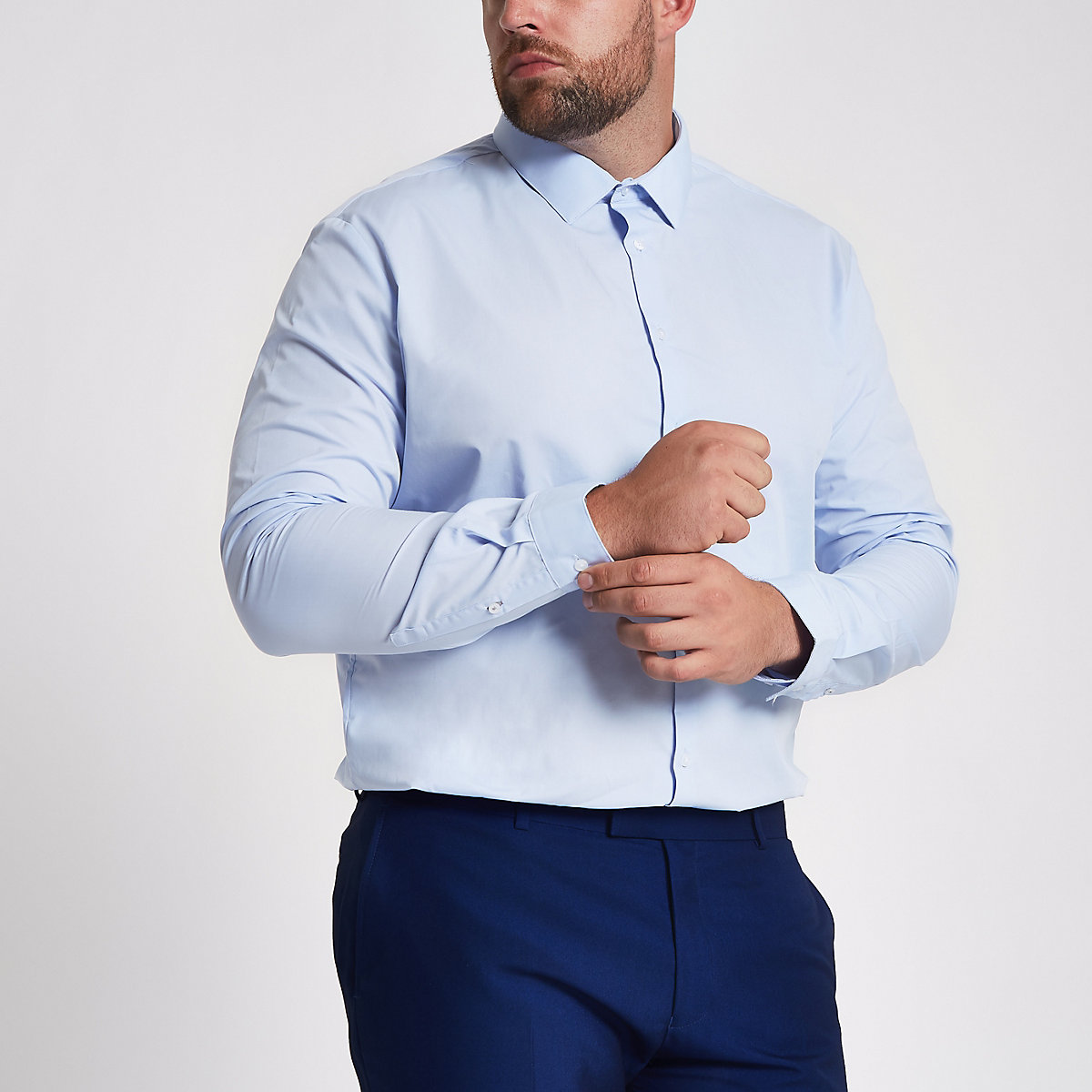 Big and Tall - Chemise bleu clair