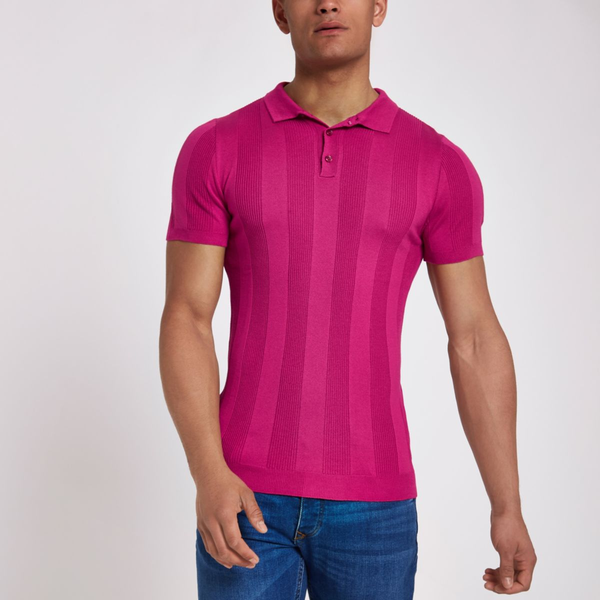 Bright pink ribbed muscle fit polo shirt