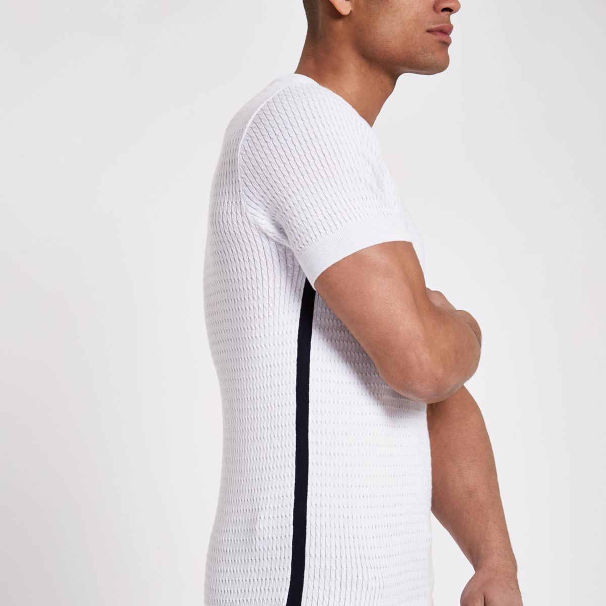 White muscle fit tipped cable knit T-shirt