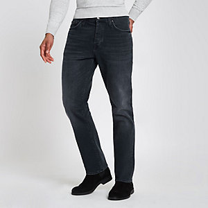 Dark blue standard straight leg jeans