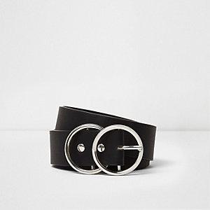 Black double ring buckle belt