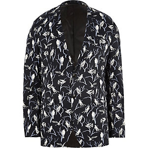 Jack & Jones - Premium marineblauwe blazer met vogelprint