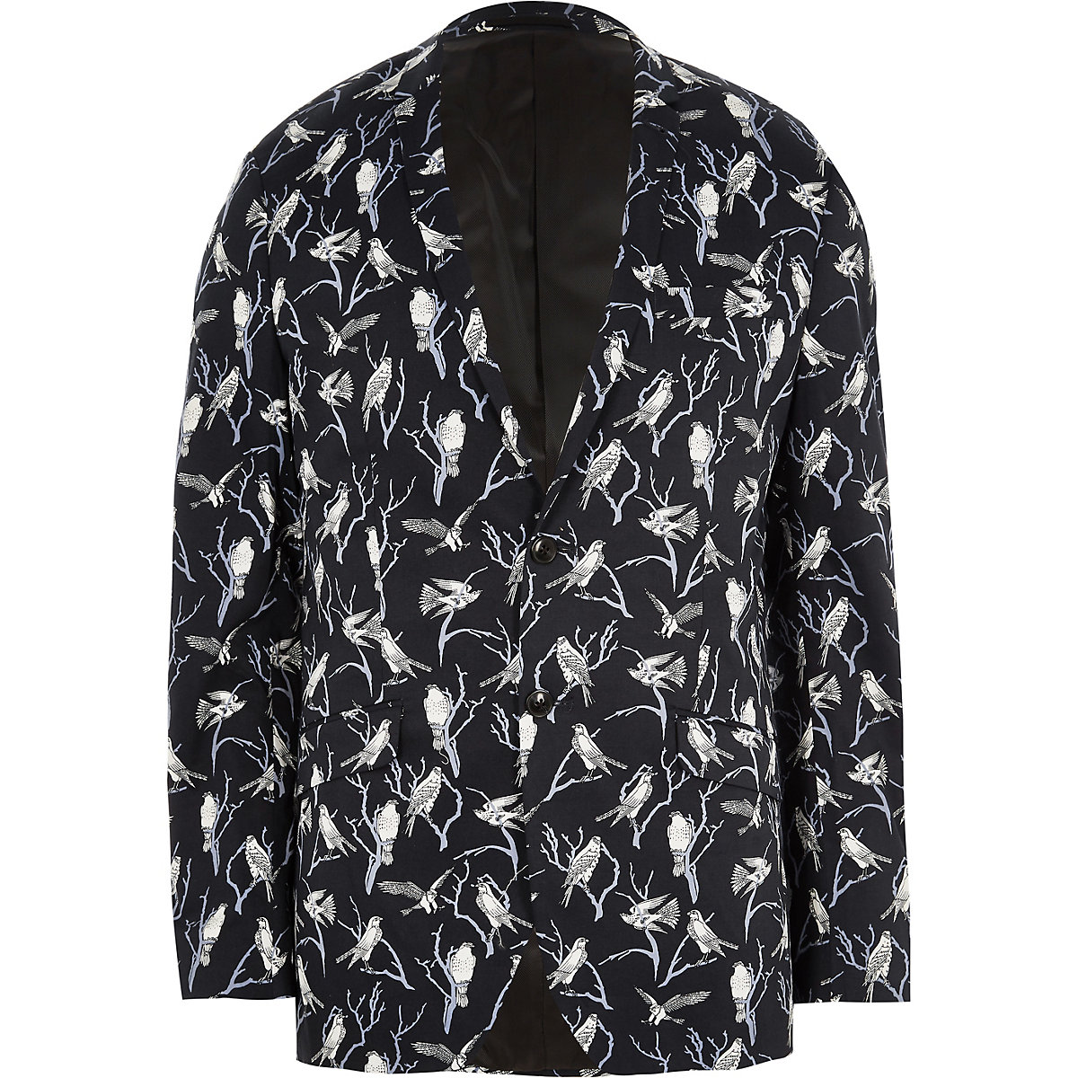 Jack & Jones Premium navy bird print blazer