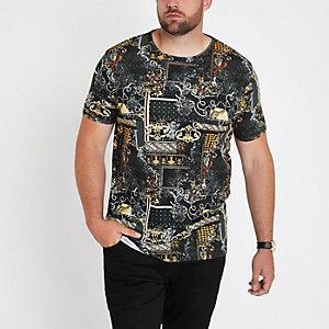 Big and Tall - Zwart slim-fit T-shirt met print