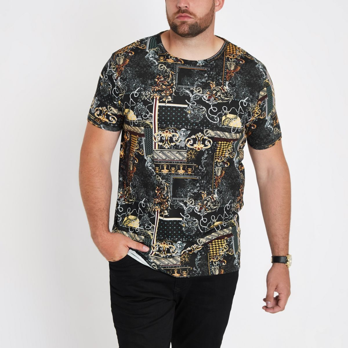 Big and Tall black print slim fit T-shirt