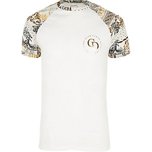 Big and Tall white raglan slim fit T-shirt