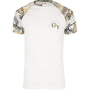 Big and Tall - Wit slim-fit T-shirt met raglanmouwen