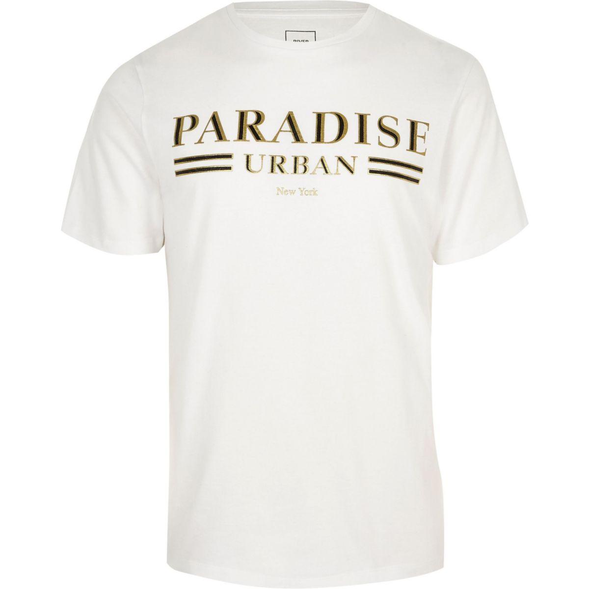 Big and Tall white print slim fit T-shirt