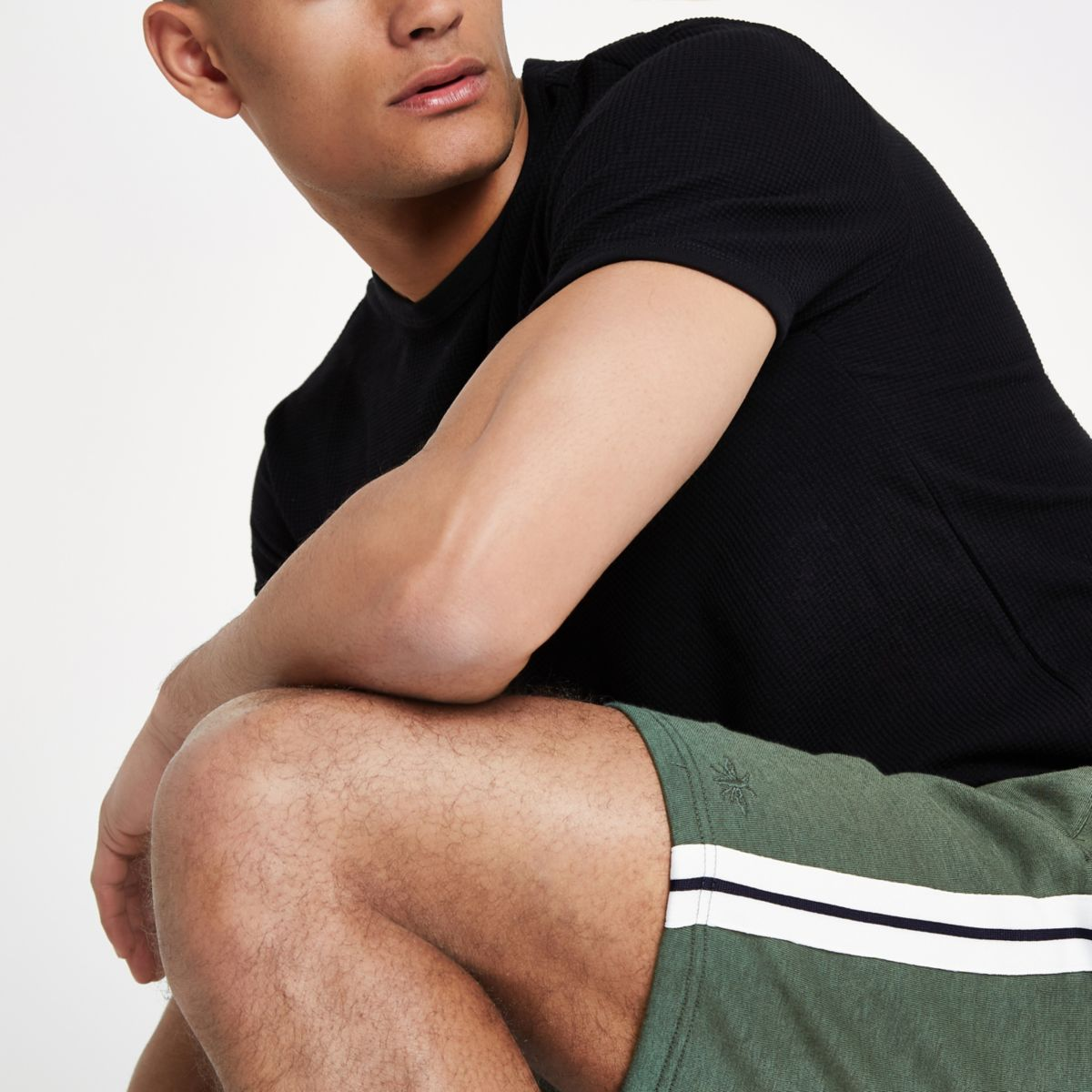 Dark green slim fit tape side shorts