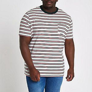 T-shirt slim Big and Tall rayé blanc