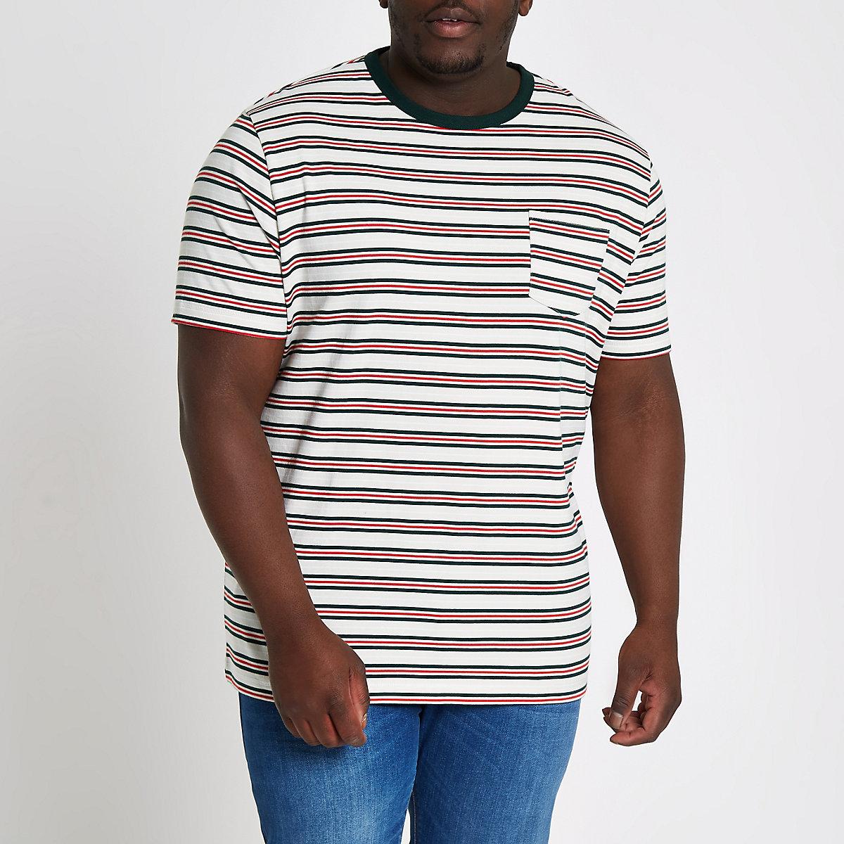 Big and Tall white stripe slim fit T-shirt