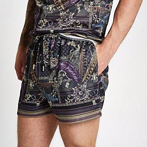 Black mesh baroque print slim fit shorts