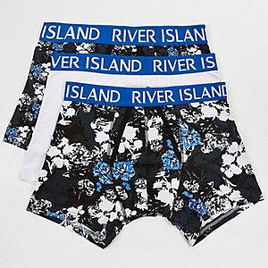 Blue floral print trunks 3 pack