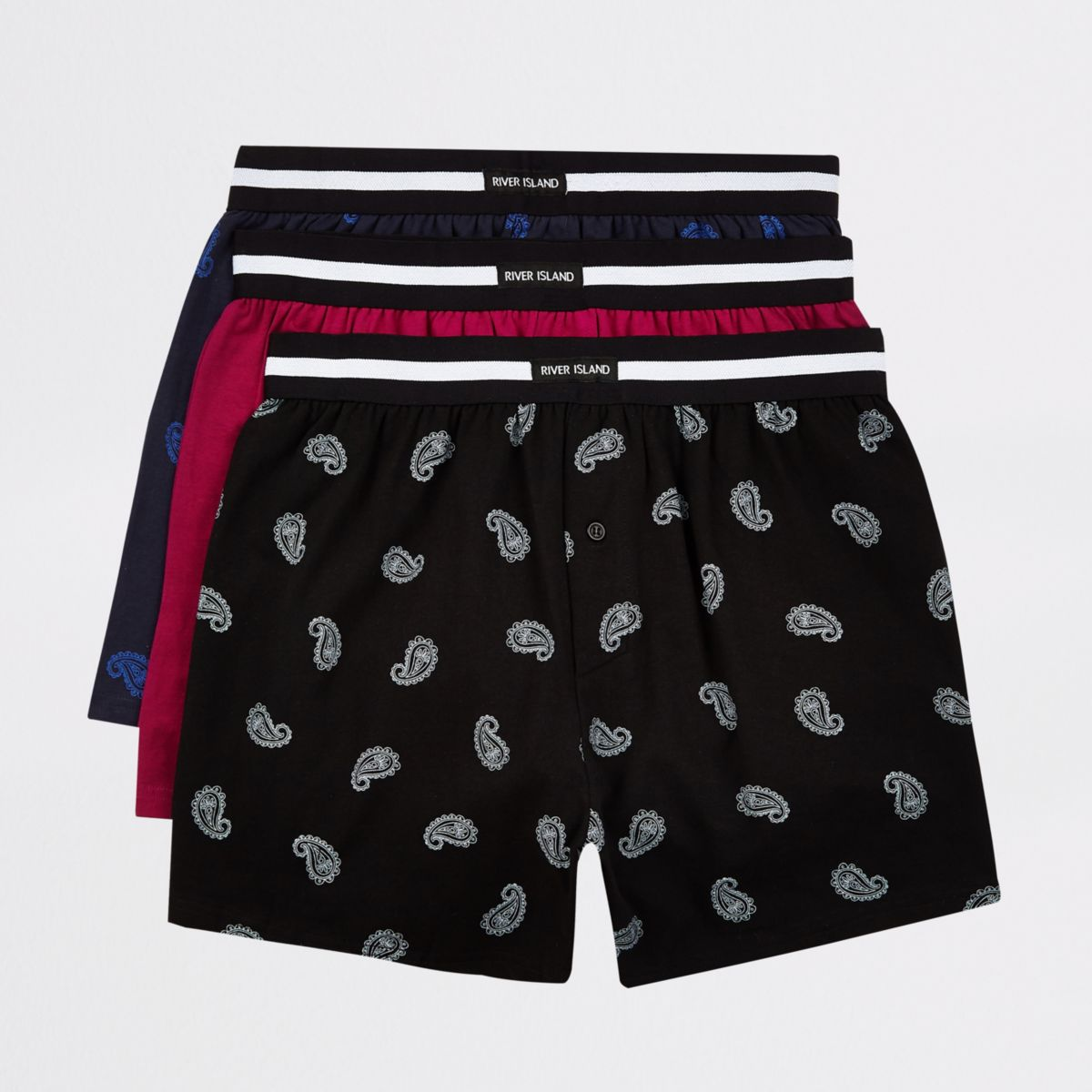 Blue loose fit RI boxers multipack