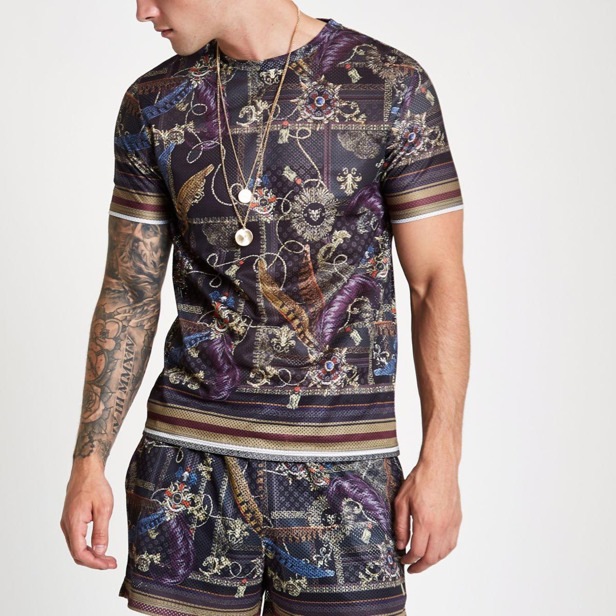 Black Mesh Baroque Print Slim Fit T Shirt by River Island