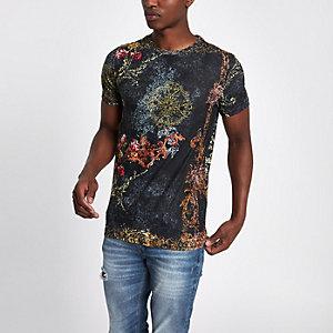 Zwart slim-fit T-shirt met luipaardprint