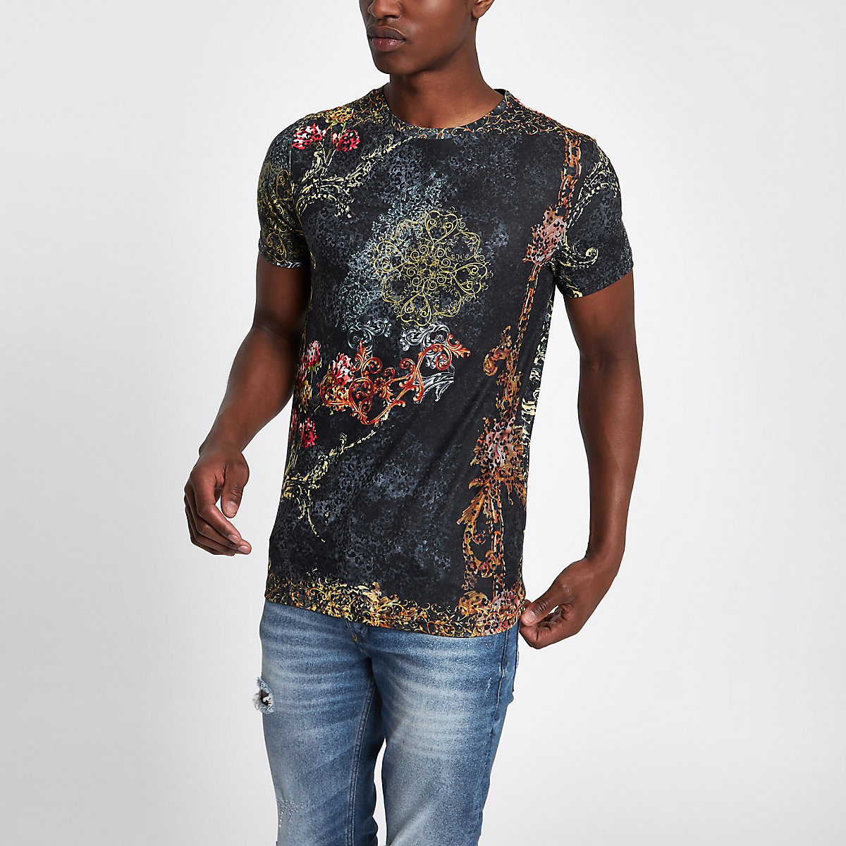 Schwarzes Slim Fit T-Shirt mit Leopardenprint