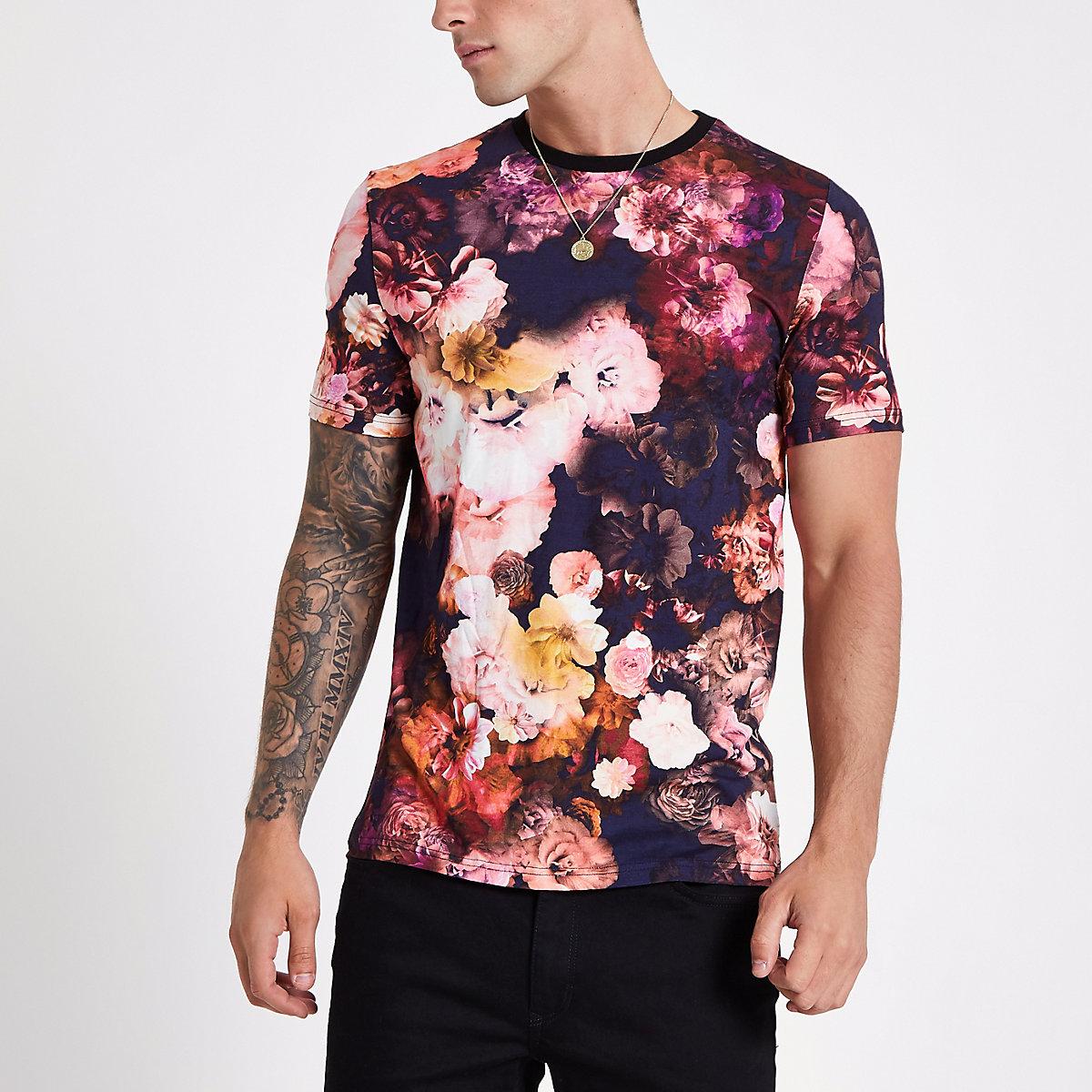 Pink slim fit floral T-shirt