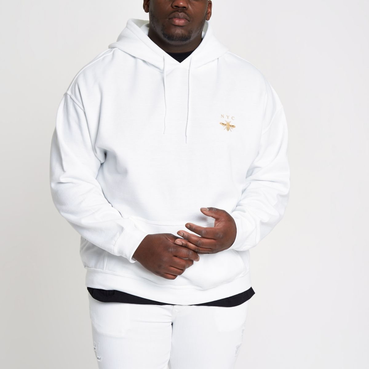 Big and Tall white 'NYC' wasp print hoodie