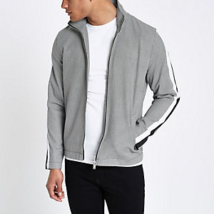 Grey houndstooth funnel neck jacket