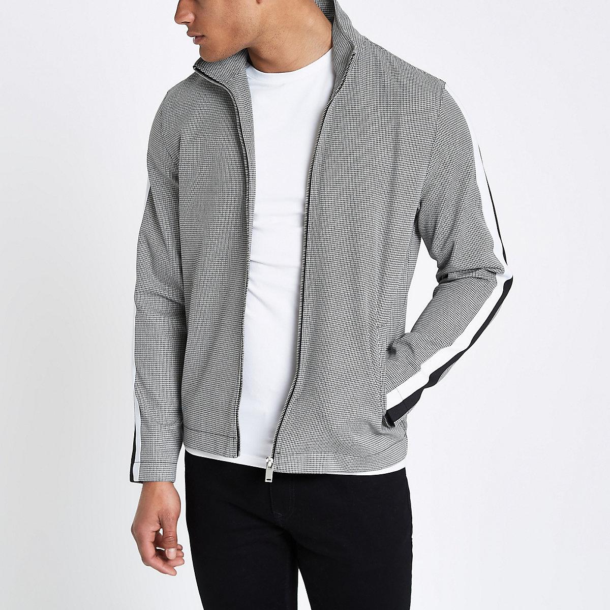 Grey houndstooth funnel neck jacket