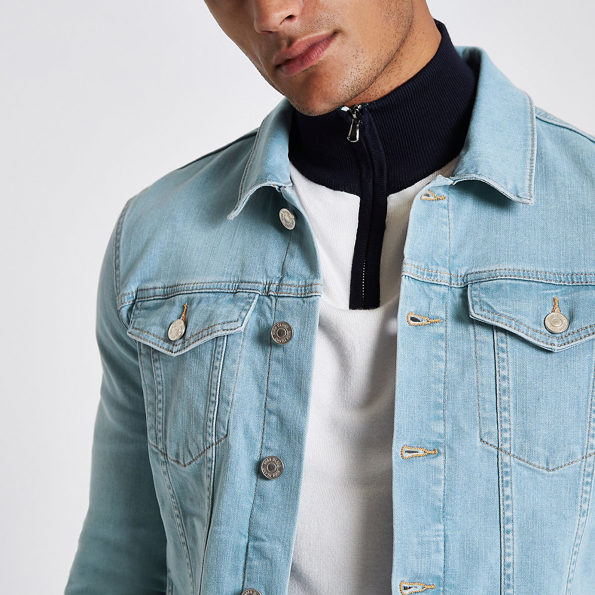 Light Blue Wash Muscle Fit Denim Jacket Jackets Coats Jackets