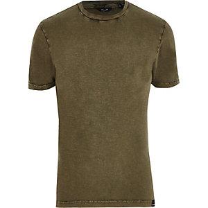Only & Sons – Kurzärmliges T-Shirt in Khaki